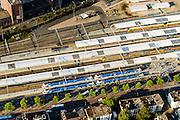 Nederland, Overijssel, Zwolle, 28-10-2014; station Zwolle en omgeving, stationsgebied. Op het station treinen van NS en Arriva.<br /> Railway station Zwolle.<br /> luchtfoto (toeslag op standard tarieven);<br /> aerial photo (additional fee required);<br /> copyright foto/photo Siebe Swart