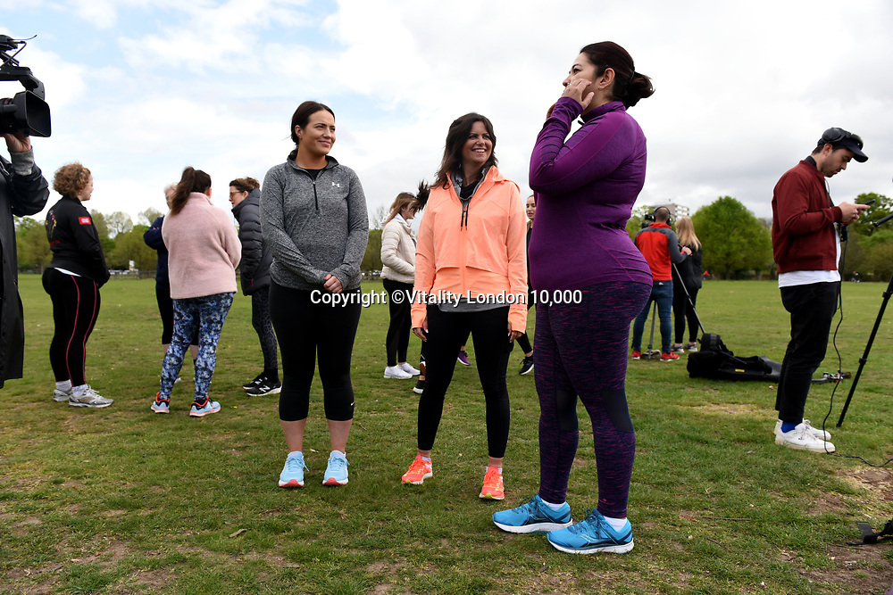 Deborah James (C) talks to participants at Celebrate You Training Session with Tim Weeks in Richmond Park, Surrey - preparing runners for The Vitality London 10,000, which will take place on Monday 27th May 2019. Friday 26 April 2019<br /> <br /> Photo: Kate Green for Vitality London 10,000<br /> <br /> For further information: media@londonmarathonevents.co.uk
