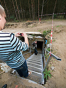 Improvised and new entrance for visitors taking part in a guiding tour at the Honecker Bunker in the city of Prenden close to Berlin.