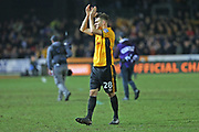 Newport  Mickey Demetriou (28) applauds the crowd after their 1-1 draw today during the The FA Cup 4th round match between Newport County and Tottenham Hotspur at Rodney Parade, Newport, Wales on 27 January 2018. Photo by Gary Learmonth.