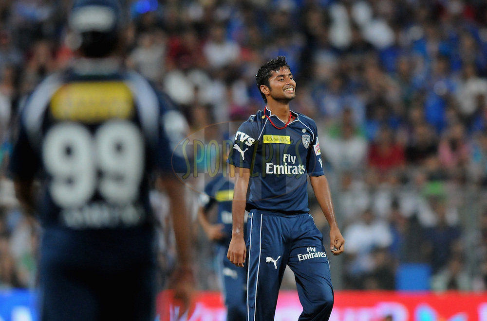 Veer Pratap Singh of Deccan Chargers reacts after taking the wicket of Sachin Tendulkar of Mumbai Indians during match 40 of  the Indian Premier League ( IPL) 2012  between The Mumbai Indians and the Deccan Chargers held at the Wankhede Stadium in Mumbai on the 29th April 2012..Photo by Pal Pillai/IPL/SPORTZPICS.
