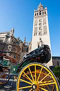 La Giralda tower over horse carriage in Sevilla (Spain)