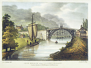 Abraham Darby III's iron bridge across the Severn at Ironbridge, Coalbrookdale, England. First iron bridge in world, built between 1776 and 1779. Lithograph from Samuel Ireland 'Picturesque Views of the River Severn', London, c. 1795. Severn Trow sailing vessel is on  the left.