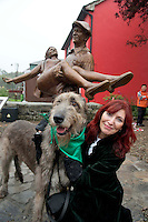 Juno the irish Wolf hound with Mary Potter from Tyrone  in Cong village for an unveiling of a statue of the lead actors John Wayne and Maureeen O Hara. Picture:Andrew Downes