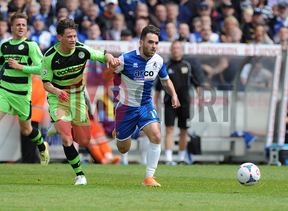 Bristol Rovers' Jake Gosling battles for the ball with Forest Green Rovers's James Jennings - Photo mandatory by-line: Alex James/JMP - Mobile: 07966 386802 - 03/05/2015 - SPORT - Football - Bristol - Memorial Stadium - Bristol Rovers v Forest Green Rovers - Vanarama Football Conference