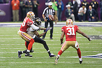 3 February 2013: Wide receiver (12) Jacoby Jones of the Baltimore Ravens has a catch broken up by (29) Chris Culliver of the San Francisco 49ers during the first half of the Ravens 34-31 victory over the 49ers in Superbowl XLVII at the Mercedes-Benz Superdome in New Orleans, LA.