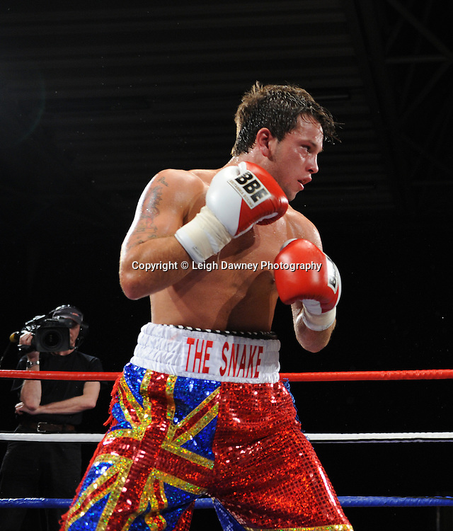 Joe Hughes defeats Tony Pace's (pictured) debut fight in a Light Welterweight contest at the Doncaster Dome, Doncaster, UK, 3rd September 2011. Frank Maloney Promotions. Photo credit: Leigh Dawney 2011