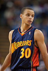 November 8, 2009; Sacramento, CA, USA;  Golden State Warriors guard Stephen Curry (30) during the first quarter against the Sacramento Kings at the ARCO Arena. The Kings defeated the Warriors 120-107.