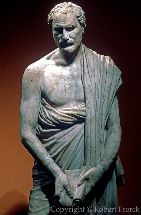 GREECE, HISTORIC ART AND ARTIFACTS Sculpture of Demosthenes the defender of Democracy in the National Museum in Athens