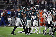 Philadelphia Eagles cornerback Jalen Mills (31) celebrates after a fourth quarter strip sack fumble during the 2018 NFL Super Bowl LII football game against the New England Patriots on Sunday, Feb. 4, 2018 in Minneapolis. The Eagles won the game 41-33. (©Paul Anthony Spinelli)
