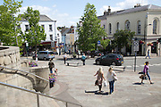 Town centre shoppers, Chepstow, Monmouthshire, Wales, UK