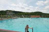 Dylan Sullivan enjoys a day at the pool during the 70th Anniversary celebration of the Kiwanis Pool in St. Johnsbury Vermont.  Karen Bobotas / for Kiwanis International