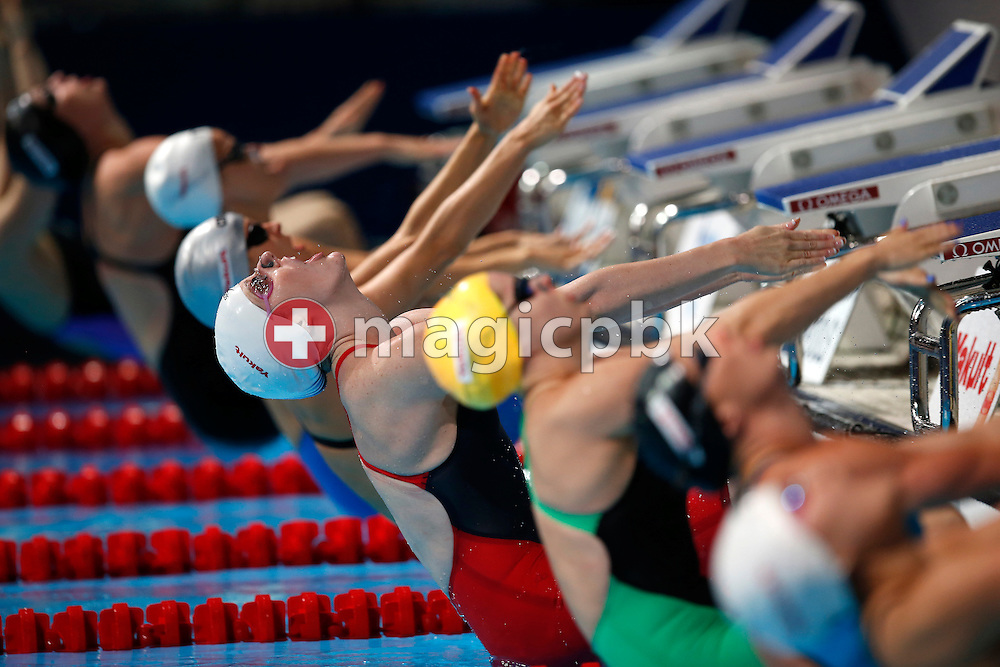 Missy Franklin (C) of the United States of America (USA) starts in the women's 100m Backstroke Heats during the 15th FINA World Aquatics Championships at the Palau Sant Jordi in Barcelona, Spain, Monday, July 29, 2013. (Photo by Patrick B. Kraemer / MAGICPBK)
