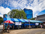07 AUGUST 2016 - BANGKOK, THAILAND:  A polling place for the charter referendum vote in a park in central Bangkok. Thais voted Sunday in the referendum to approve a new charter (constitution) for Thailand. The new charter was written by a government appointed panel after the military coup that deposed the elected civilian government in May, 2014. The charter referendum is the first country wide election since the coup.       PHOTO BY JACK KURTZ