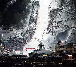 """29.01.2019, Planai, Schladming, AUT, FIS Weltcup Ski Alpin, Slalom, Herren, 2. Lauf, im Bild der untere Bereich des Planai-Zielhanges mit Hohenhaus Tenne, Skygate und Planet Planai, Panoramabild aus zwei Einzelaufnahmen // finish area of the racehill, Hohenhaus Tenne, Skygate and Planet Planai during 2nd run of men's Slalom """"the Nightrace"""" of FIS ski alpine world cup at the Planai in Schladming, Austria on 2019/01/29. EXPA Pictures © 2019, PhotoCredit: EXPA/ Martin Huber"""