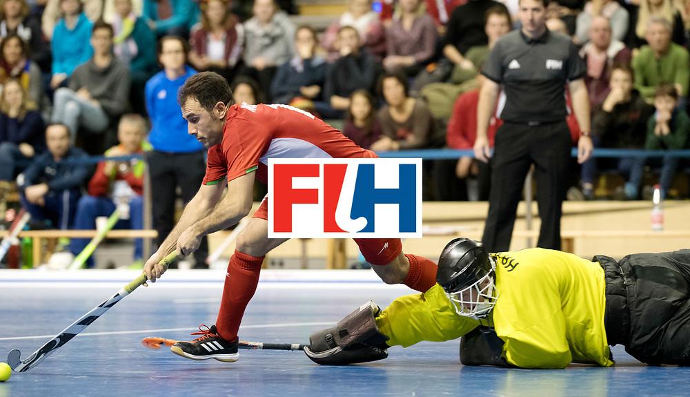BERLIN - Indoor Hockey World Cup<br /> Quarterfinal 1: Iran - Czech Republic<br /> foto: NOROUZZADEH Reza and HRABA Pavel (GK).<br /> WORLDSPORTPICS COPYRIGHT FRANK UIJLENBROEK