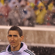 Angel Di Maria, Argentina, in the snow as the teams line up  before the Argentina Vs Ecuador International friendly football match at MetLife Stadium, New Jersey. USA. 31st march 2015. Photo Tim Clayton