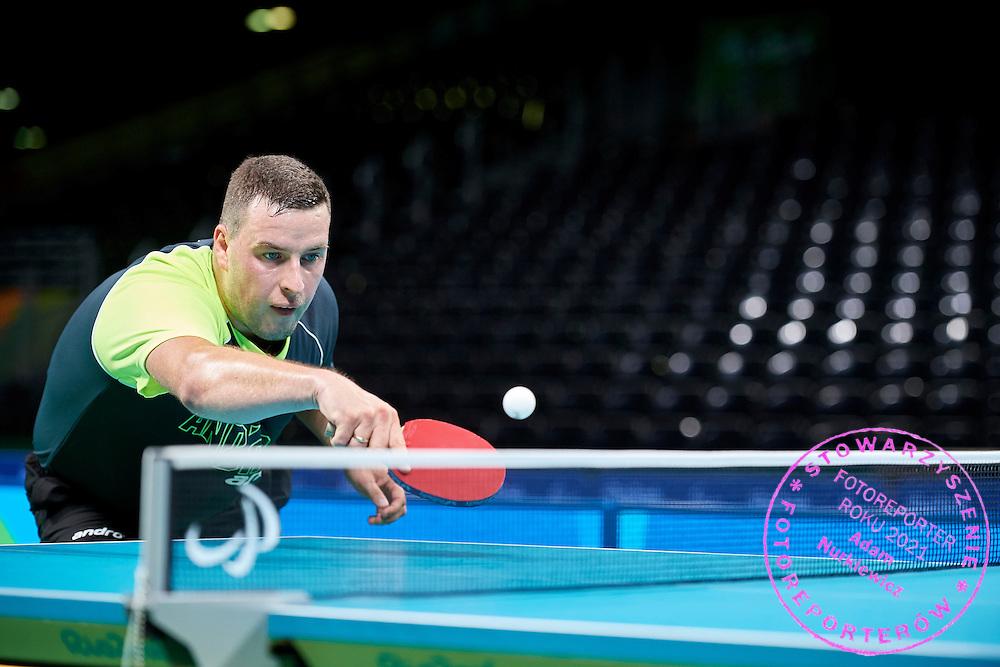 Rio de Janeiro, Brazil - 2016 September 03: Marcin Skrzynecki from Poland plays during table tennis training session in Riocentro Pavilion 3 while 2016 Summer Paralympic Games on September 03, 2016 in Rio de Janeiro, Brazil.<br /> Rio 2016 Paralympic Games will be held from September 7 until 18.<br /> <br /> Adam Nurkiewicz declares that he has no rights to the image of people at the photographs of his authorship.<br /> <br /> Picture also available in RAW (NEF) or TIFF format on special request.<br /> <br /> Any editorial, commercial or promotional use requires written permission from the author of image.<br /> <br /> Mandatory credit:<br /> Photo by &copy; Adam Nurkiewicz / Mediasport