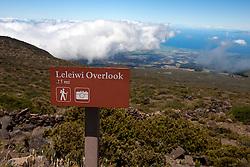 Trail marker sign to Leleiwi Overlook, Haleakala National Park, Maui, Hawaii, United States of America