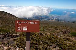 Trail marker sign to Leleiwi Overlook, Haleakala National Park, Maui, Hawaii, United States of America