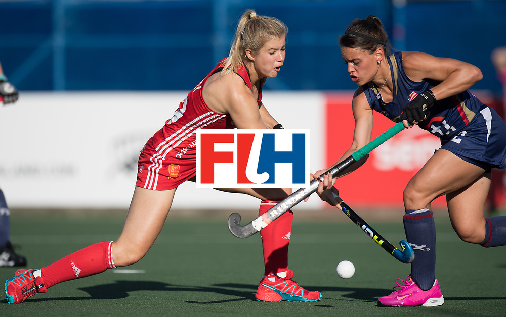 AUCKLAND - Sentinel Hockey World League final women<br /> Match id: 10304<br /> 15 USA v ENG (QF)<br /> Foto: Sophie Bray and Amanda Magadan <br /> WORLDSPORTPICS COPYRIGHT FRANK UIJLENBROEK