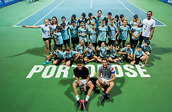 Ballboys with Runner up Andrea Arnaboldi (ITA) and Winner Constant Lestienne (FRA)  after the Final Singles match at Day 9 of ATP Challenger Zavarovalnica Sava Slovenia Open 2018, on August 11, 2018 in Sports centre, Portoroz/Portorose, Slovenia. Photo by Vid Ponikvar / Sportida