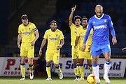 AFC Wimbledon striker Lyle Taylor (33) scores a goal 1-0 and celebrates during the EFL Sky Bet League 1 match between Gillingham and AFC Wimbledon at the MEMS Priestfield Stadium, Gillingham, England on 21 February 2017.