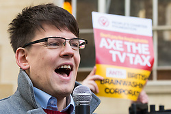 """London, November 05 2017. Several dozen protesters from the People's Charter Foundation, whose website states """"We demand for proper Brexit, and for Britain to ban Sharia law"""", demonstrate outside the BBC's New Broadcasting House before marching to Parliament Square, against what they claim is left wing, pro-remain Bias by the BBC, and against the corporations's licence fee, which they state is outdated. A young lawyer addresses the gathering. © Paul Davey"""