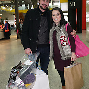London, England, UK : 19th Feb 2016 :  Dani Harmer and partner Simon Brough leaving the Baby Show 2016 at Excel London. Photo by See Li