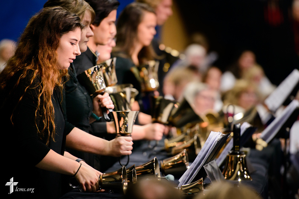Handbell musicians perform during the 500th Anniversary of the Reformation festival worship service on Sunday, Oct. 29, 2017, in the Gangelhoff Center at Concordia University, St. Paul, in St. Paul, Minn. The service was held in conjunction with Concordia University, St. Paul, and the Minnesota North and South Districts of the Lutheran Church-Missouri Synod. LCMS Communications/Erik M. Lunsford