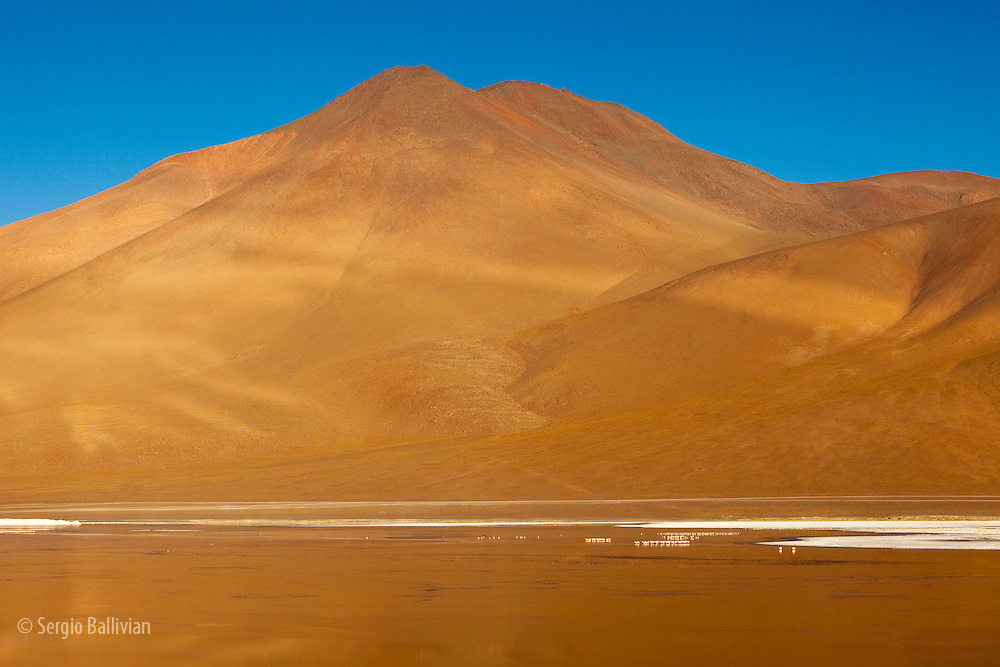 Morning sunshine reflects golden light off Laguna Colorada onto a rocky peak in southwestern Bolivia's Sud Lipez region, averaging 14,000 ft above sea level.  Many peaks in this region average 17,000' and higher and many are unclimbed.  This region is high-altitude, cold, windy, desolate and remote.