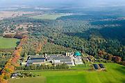 Nederland, Noord-Brabant, Gemeente gemeente Heeze-Leende, 24-10-2013; Varkens Innovatie Centrum (VIC) Sterksel, onderzoekscentrum voor de moderne, innovatieve en duurzame varkenshouderij. De groene silo's zijn de biogasinstallatie voor vergisting van de mest.<br /> Research center for modern, innovative and sustainable pig farming. The green silos are the biogas plant for the fermentation of the manure.<br /> luchtfoto (toeslag op standaard tarieven);<br /> aerial photo (additional fee required);<br /> copyright foto/photo Siebe Swart.