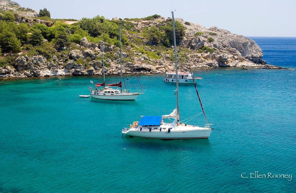 Yachts in Ladiko or Anthony Quinn Bay, a rocky cove with a small beach, Rhodes, Dodecanese Islands, Greece