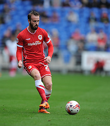 Cardiff City's John Brayford passes the ball. - Photo mandatory by-line: Alex James/JMP - Mobile: 07966 386802 30/08/2014 - SPORT - FOOTBALL - Cardiff - Cardiff City stadium - Cardiff City  v Norwich City - Barclays Premier League