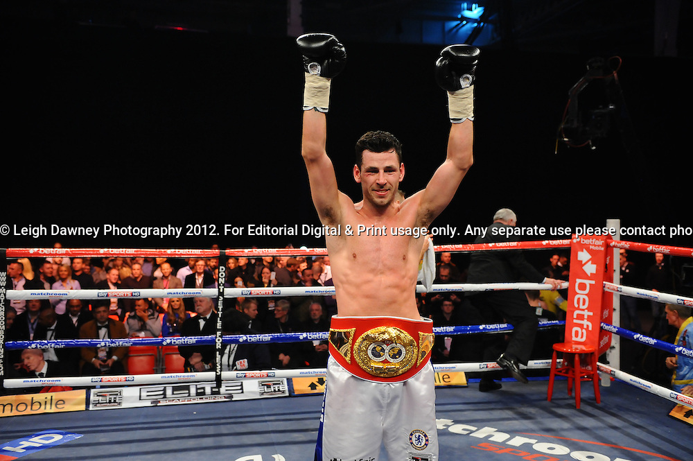 Darren Barker defeats Kerry Hope for the Vacant  IBF Super Middleweight Title at Olympia, Kensington, London on the 8th December 2012. Matchroom Sport. © Leigh Dawney Photography 2012.