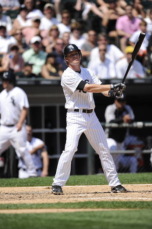 CHICAGO - JULY 06:  Gordon Beckham #15 of Chicago White Sox bats against the Kansas City Royals on July 6, 2011 at U.S. Cellular Field in Chicago, Illinois.  The Royals defeated the White Sox 4-1.  (Photo by Ron Vesely)  Subject: Gordon Beckham