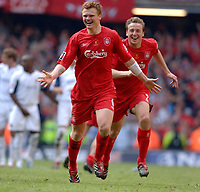 Photo: Daniel Hambury.<br />Liverpool v West Ham United. The FA Cup Final. 13/05/2006.<br />Liverpool's John Arne Risse and Jan Krompkamp celebrate as they win the FA Cup.