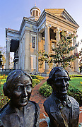 Busts of Varina & Jefferson Davis, president of the confederacy, in front of Old Courthouse Museum, Vicksburg, Mississippi