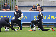 AFC Wimbledon goalkeeper George Long (1) and AFC Wimbledon goalkeeper Nicola Tzanev (25) warming up during the EFL Sky Bet League 1 match between AFC Wimbledon and Oldham Athletic at the Cherry Red Records Stadium, Kingston, England on 21 April 2018. Picture by Matthew Redman.