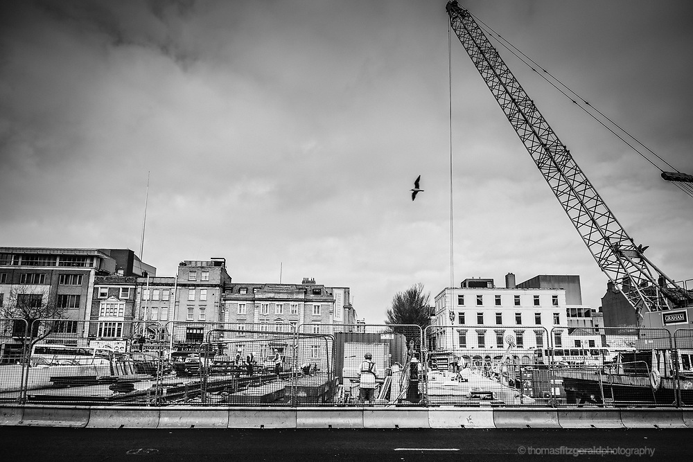Dublin, Febuary 2014: Construction of the rosie hackett bridge over the Liffey in Dublin which will carry the southbound leg of the corss city Luas