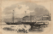 Paddle steamer 'Britannia' leaving Boston, USA.  This was the vessel in which the English novelist Charles Dickens sailed from Liverpool to America in 1842. From 'The Illustrated London News' (London, 23 October 1847). Engraving.