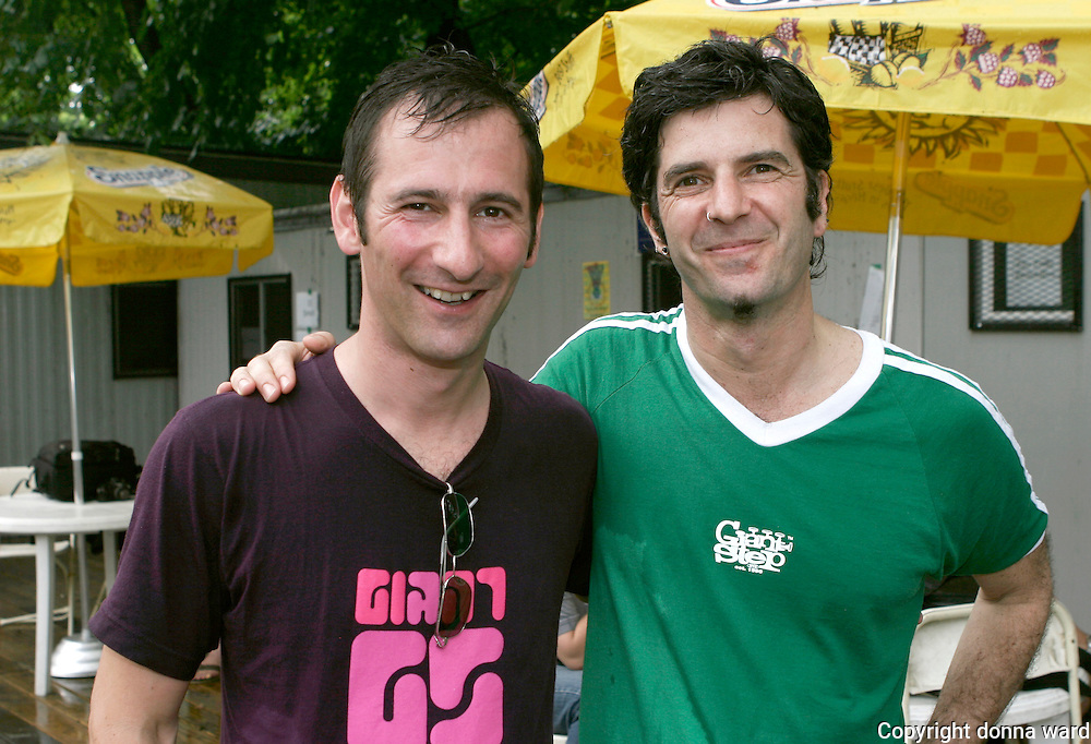 Co-founders Maurice Bernstein and Jonathan pose as Giant Step celebrates its 15th Anniversary at Central Park SummerStage on July 17, 2005.