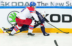 Jan Hejda of Czech Republic vs Charlie Coyle of USA during Ice Hockey match between USA and Czech Republic at Third place game of 2015 IIHF World Championship, on May 17, 2015 in O2 Arena, Prague, Czech Republic. Photo by Vid Ponikvar / Sportida