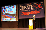 "Wolf Blitzer, anchor of CNN's The Situation Room, speaking at Hofstra University on Thursday, March 29, 2012, in Hempstead, New York, USA. During Blitzer's talk, he shared news clips, including from CNN coverage of 2008 Election Night, he anchored, when Barak Obama won the Presidential election. Hofstra's ""The World Today"" event is part of ""Debate 2012 - Pride, Politics and Policy"" which leads up to the Presidential Debate Hofstra is hosting on October 15, 2012."