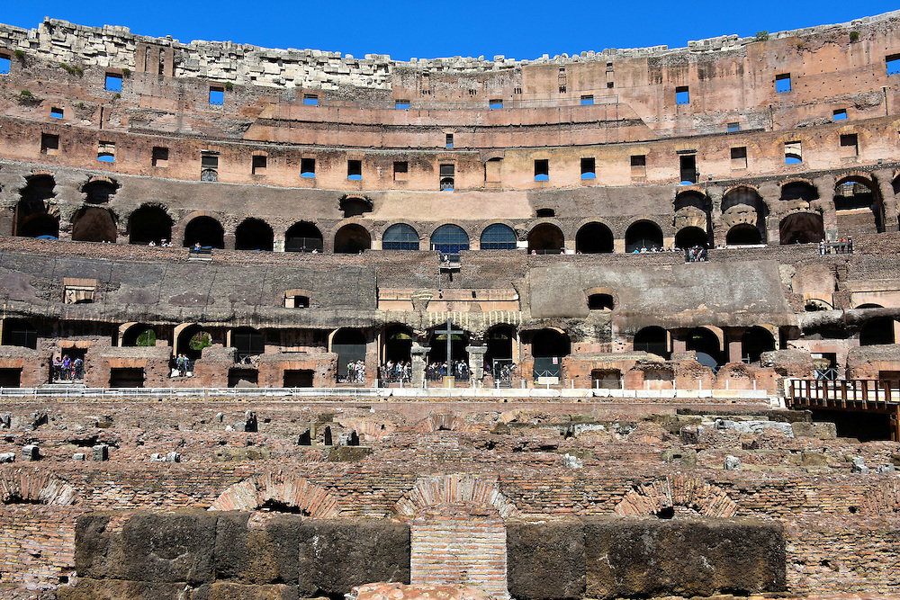 Seating Arrangements Inside Colosseum's Arena In Rome