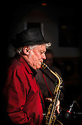 Al Weber, Sr. working the sax during Swing That Cat's performance at the first live music event at Human Village Brewing Company in Pitman, NJ.