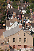 Colonial Williamsburg from a high angle.