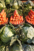 Vegetables for sale on the roadside between Antsaribe and Antananarivo.  Madagascar. <br /> ( Photographer &ndash; Zute Lightfoot)