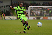 Forest Green Rovers defender Dale Bennett (6) crosses during the Vanarama National League match between Forest Green Rovers and Dagenham and Redbridge at the New Lawn, Forest Green, United Kingdom on 29 October 2016. Photo by Alan Franklin.