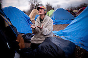 Evelyn Marrs-Benn, sings at the SafeGround camp in Sacramento, Calif., January 13, 2011.